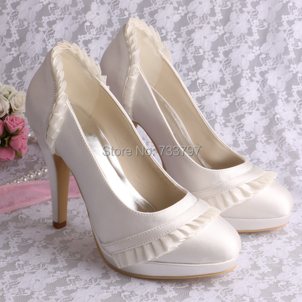 ФОТО Wholesale & Retail Shoes Ivory Round Toe 10CM Thin Heels Satin Wedding Bridal Evening Fashion Pumps