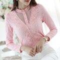 Элегантный тонкий женщины топы плюс размер женская одежда Новые Поступления женщин блузки рубашки мода повседневная с длинным рукавом кружева топы
