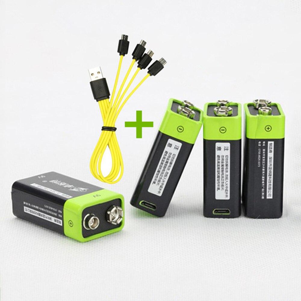 4 pièces ZNTER 400 mAh USB 9 V batterie au lithium rechargeable 6F22 rechargeable au lithium polymère batterie + 1 pièces Micro USB câble de chargement