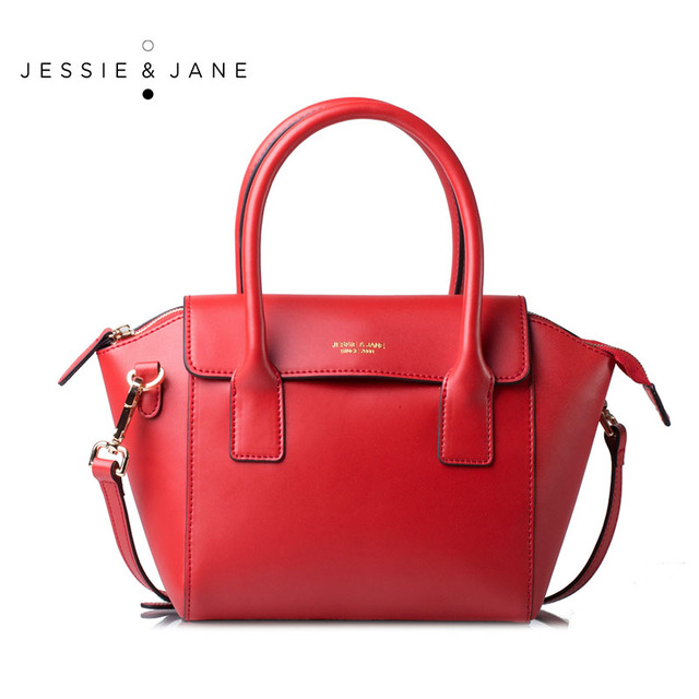 JESSIE&JANE Designer Brand New Style Women Leather Bag Fashion Trapeze Bags Top-Handle Bag Satchel Shoulder Bags 1081