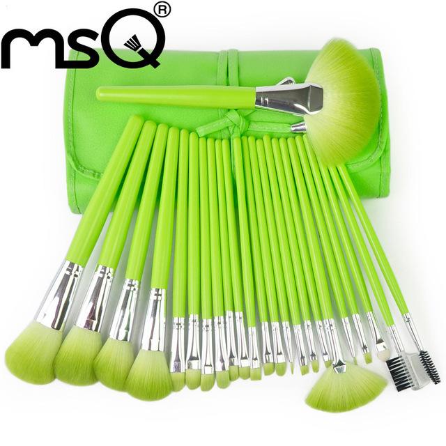 MSQ 24 pcs Professional Cabelo Sintético Escovas da Composição Cosmetic Set Com Função Completa & Cabelo Sintético PU Estojo De Couro