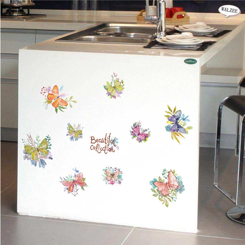 Colorful Butterfly Wall Sticker Vinyl For Kid Baby Girl Rooms Mural Decals Diy Children Furniture Kitchen Decor Pattern Stickers