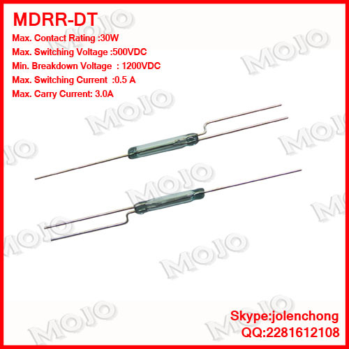 MDRR-DT Original and New : U.S HAMLIN reed switch 2.5X14MM N.C/N.O Green glass 3 feet hermetic reed switches (10pcs/lots)