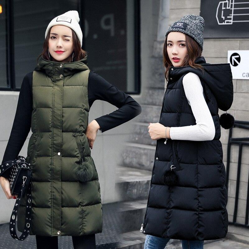 Winter Vest Women 2017 New Fashion Waistcoat Plus Size Slim Candy Color Vests Hooded Down Cotton Warm Long Vest Coat female
