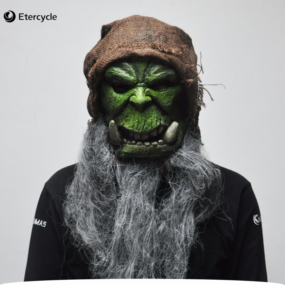 Warcraft Orcs Guldan Masks Cosplay Movie Adult Latex Mask for Halloween