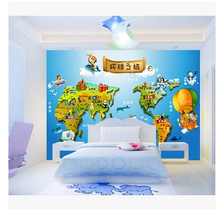 Personalized Childrens World Map Wallpaper Living Room Bedroom - World map for boys room