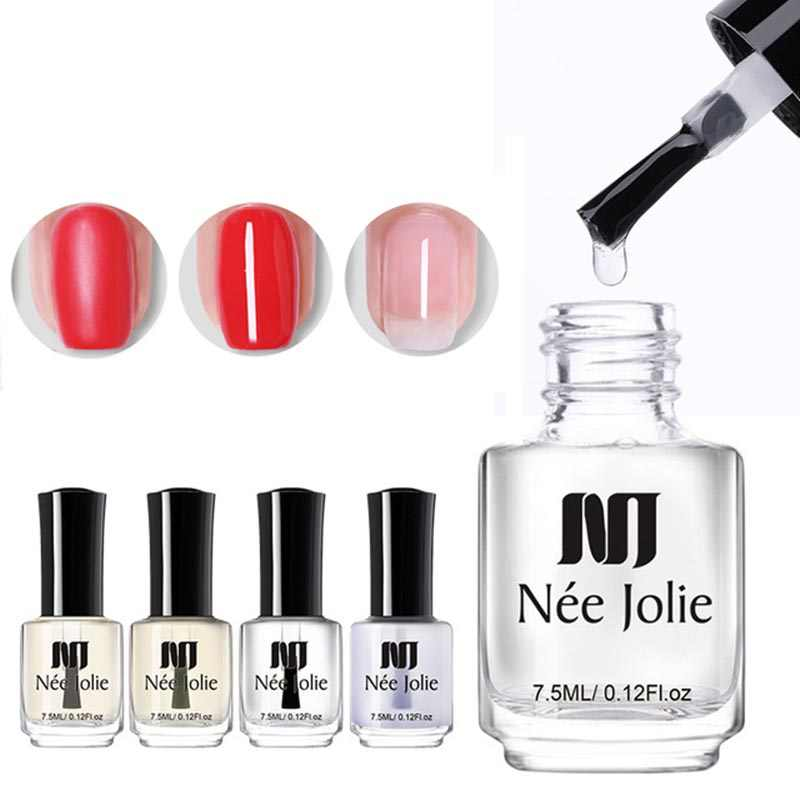 NEE JOLIE 4 Flessen Nagellak Base Coat Top Coat Matte Shine Polish Protector Olie Voor Nail Art DIY Poolse vernis 7.5 ml 3.5 ml