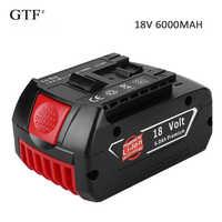 18 v 6.0a 6000mah bateria recarregável li-ion bateria de substituição portátil bateria de backup luz indicadora para bosch bat609
