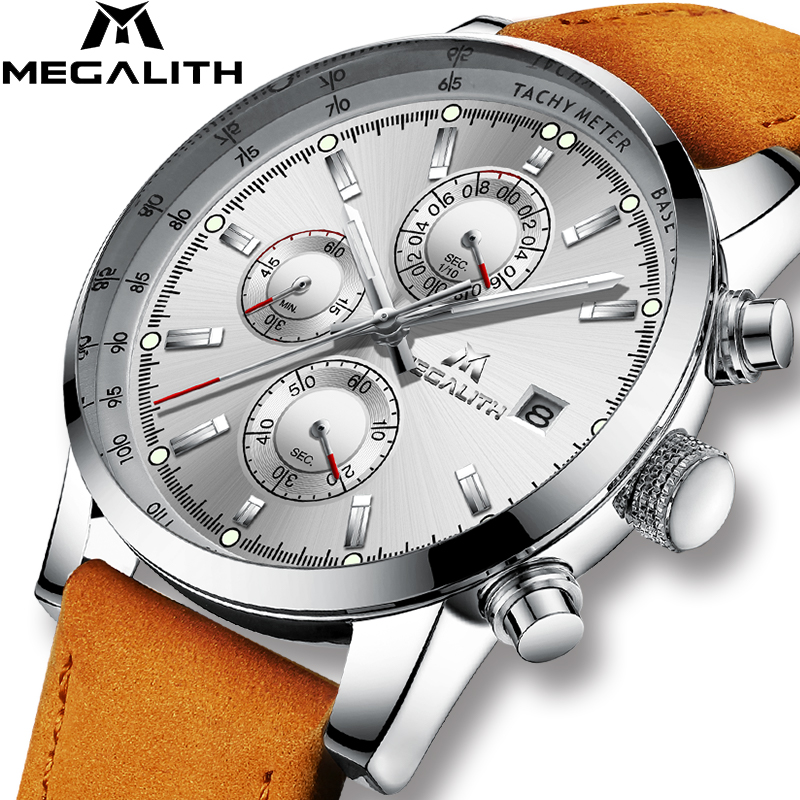 MEGALITH New Men's Watch Chronograph Analog Quartz Watch With Date Waterproof Man Students Running Wristswatch Relogio Masculino