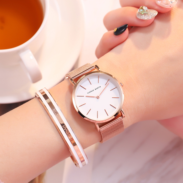Japan Quartz Movement High Quality 36mm hannah Martin Women Stainless Steel Mesh Rose Gold Waterproof Ladies Watch Dropshipping 5