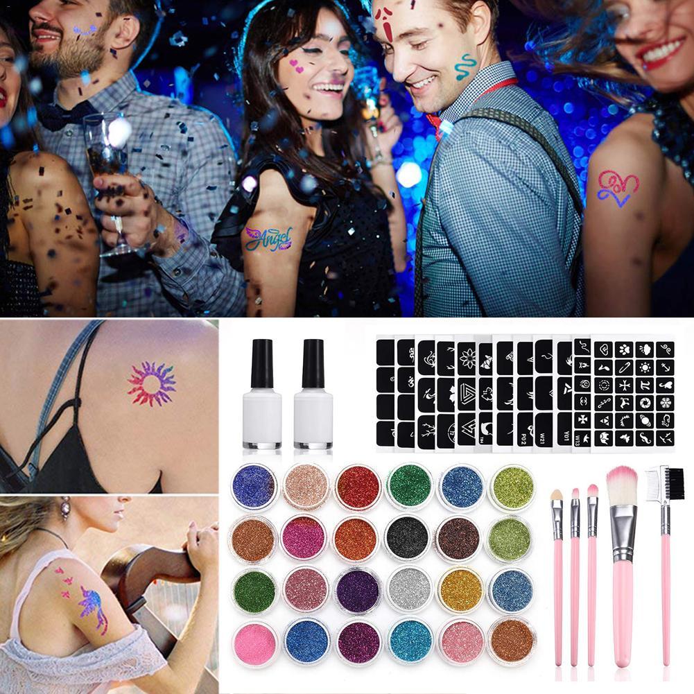 BinHin 24Pcs Color 125 Templates Set Flash Diamond Glitter Flash Powder for Temporary Tattoo Set Kids Face Body Painting Art Tools Suit