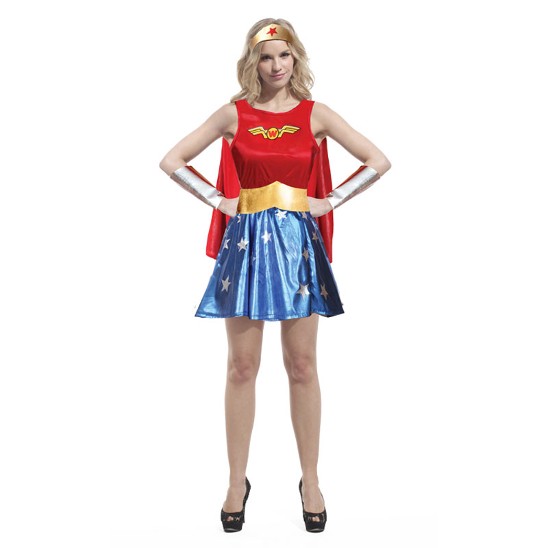 Umorden Pretty Superwoman Wonder Woman Cosplay Costume Fancy Dress for Women Purim Holiday Party Halloween Costumes