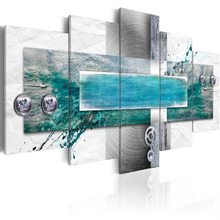 5 Pieces Home Decor Canvas Painting Blue Abstract Landscape Decorative Paintings Modern Wall Pictures Wall Art Framed PJMT- (3)