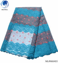 BEAUTIFICAL sky blue net lace dress fabric stones african wedding 2019 high quality tulle ML4N664