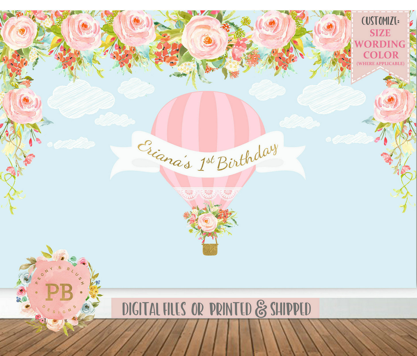 custom Hot Air Balloon Clouds Flower Leaves birthday backdrop High quality Computer print party background