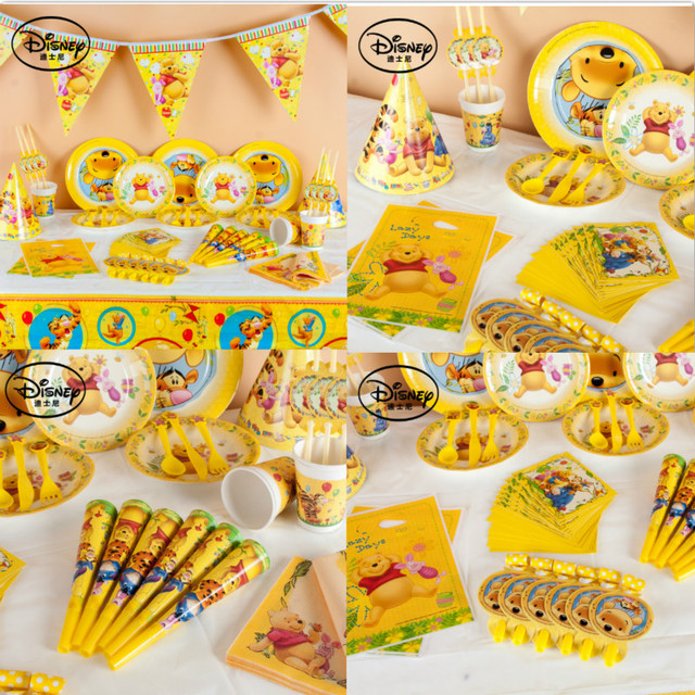 Disney winnie the pooh happy Birthday kids wedding Party Decorations paper plastic Party Supplies Tableware Set  sc 1 st  AliExpress.com & Disney winnie the pooh happy Birthday kids wedding Party Decorations ...