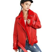 New 2016 Winter Jacket Women Thick Pu Leather Jacket Jackets Short Loose Lamb Wool Plus Cashmere Motorcycle Coats JS3061