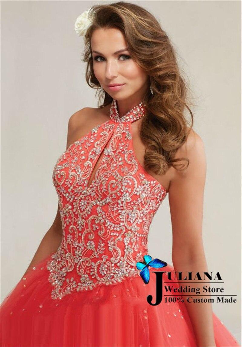 2016 Halter Cheap Quinceanera Gowns Vestido De Debutante Dress 15 ...