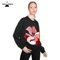Misskoko Women Casual Sweatshirts O Neck Apple Printed Long Sleeve Female Basic Pullovers Fashion Autumn Lady