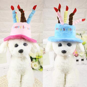 Kapelusz dla psa zwierzęta pies kot kapelusz z urodziny ciasto cap świeca prezentowa projekt kostium na przyjęcie urodzinowe stroik akcesoria dla dzieci towarów tanie i dobre opinie List white cashmere China(Mainland) Support Blue Pink Birthday Cap Hat Caps Hat with Cake Candles Design dog caps dog hat