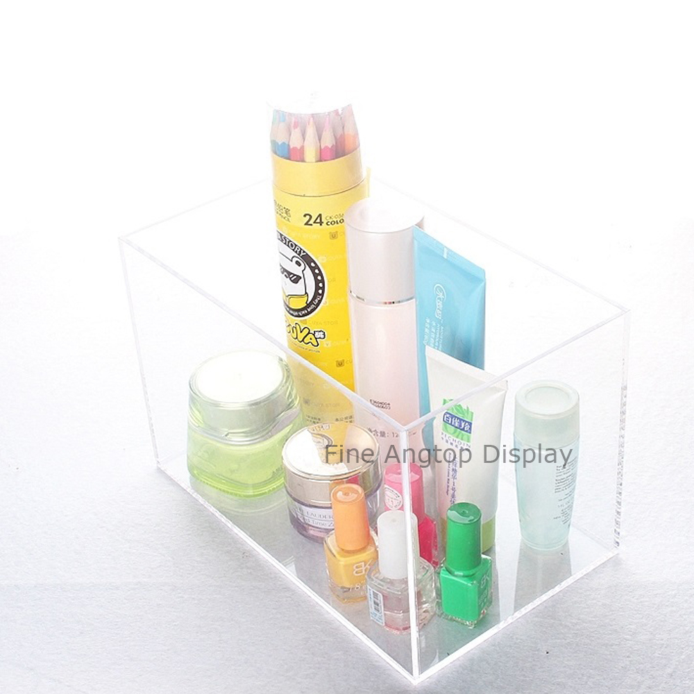Acrylic 5 Sided Jewelry Makeup Display Box Without Lid
