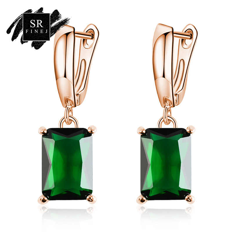 SR:FINEJ Gold Color Earrings Green Square CZ Stone Pierced Dangle Earrings Women/Girls Long Drop Earrings fashion jewelry
