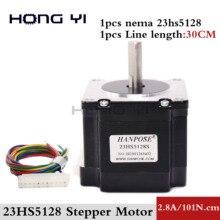 스테퍼 모터 NEMA 23 51mm 2.8A, 4 선 101N.cm 23HS5128 NEMA23 로봇 및 CNC 레이저 그라인드 폼 플라즈마 절단 용 블랙 모터