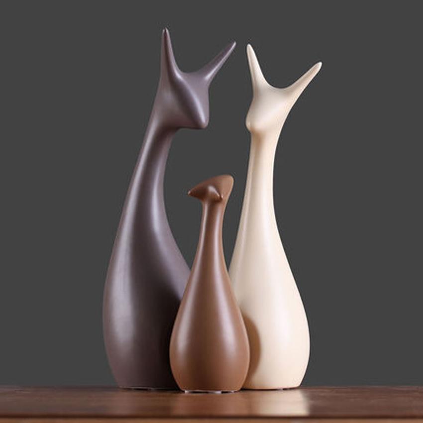Modern minimalist deer home decor crafts room decoration handicraft ornament porcelain animal cat figurines wedding decorations in Figurines Miniatures from Home Garden