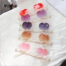 NEW Women Gradient heart-shaped Rimless sunglasses ladies re