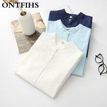 ONTFIHS Cotton Women Shirts New Fashion Mandarin Collar White Blue Shirt Pure color Long Sleeve Blouse office lady blouse