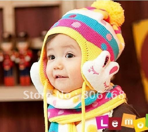 Hot Winter baby cap models cartoon rabbit children baby wool the rainbow hat + rainbow scarf Set  Free shipping