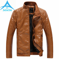 Brand Jackets Men High Quality Autumn Winter PU Male Leather Casual Stand Collar Windbreaker Motorcycle 2017