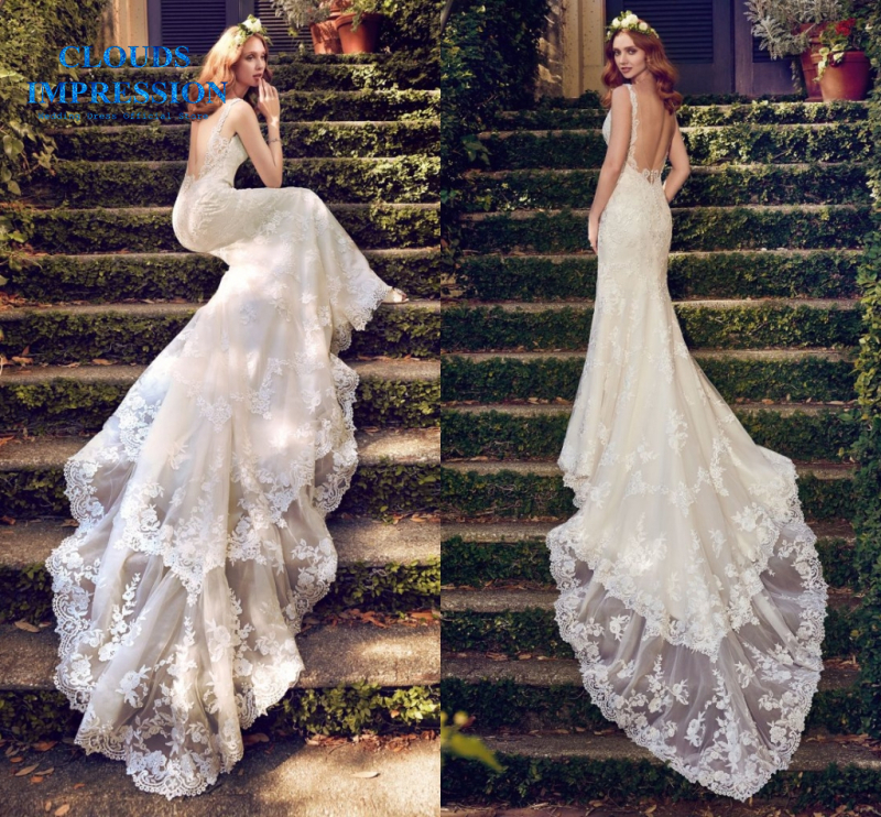 CLOUDS IMPRESSION Romantic 2019 Illusion Mermaid Wedding Dress Chapel Train Vestige De Noiva Bridal Dresses Real