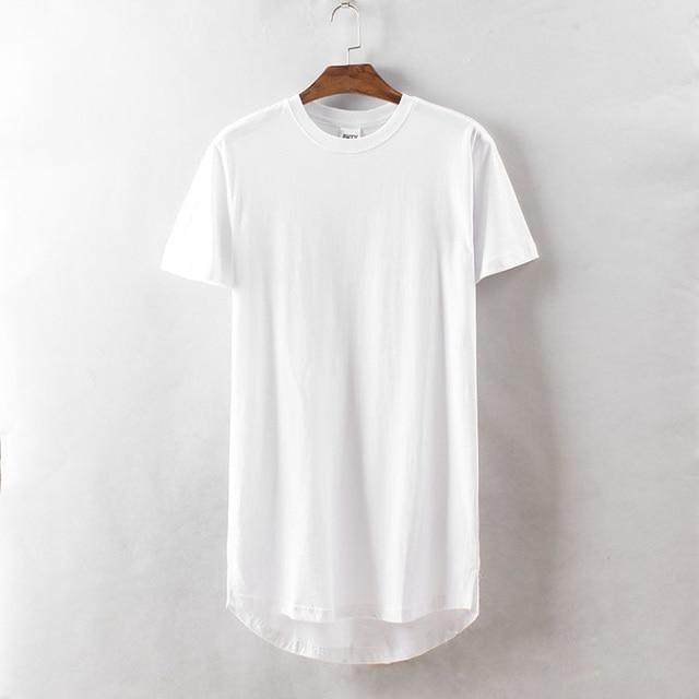 b61154b97 Summer Style Men's Hip Hop Short Sleeve T Shirt Plain Cotton Round Neck  Long T-shirt for Men Black White Streetwear High Quality