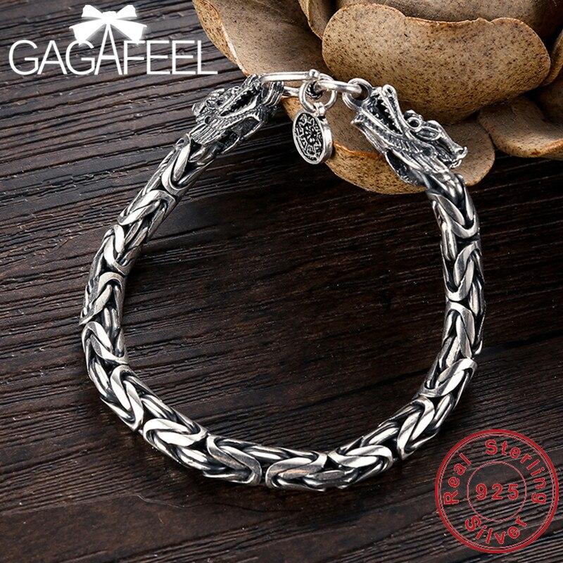GAGAFEEL Genuine 100% Real Pure 925 Sterling Silver Men Bracelet Dragon Head Men Jewelry Jine Accessories For Male Boyfriend