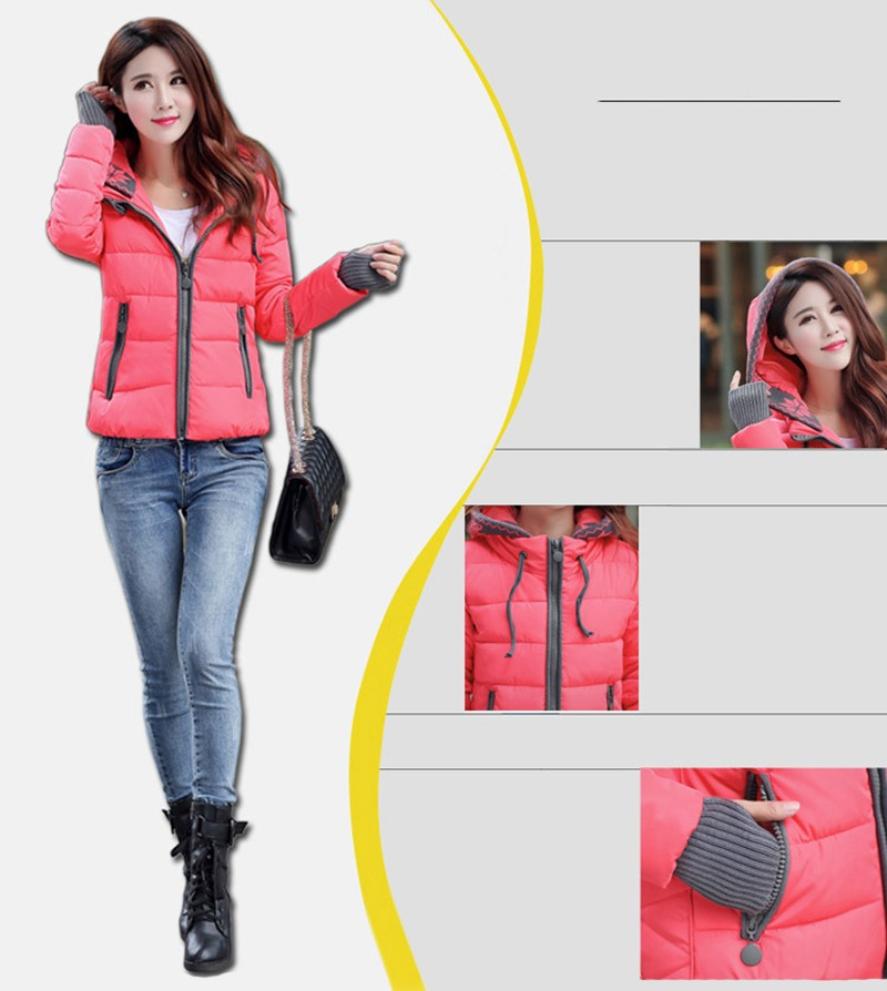 Women Winter Coat Long Sleeve Print Floral Hooded Slim Winter Parka Plus Size Cotton-Padded Jackets 2XL (2)