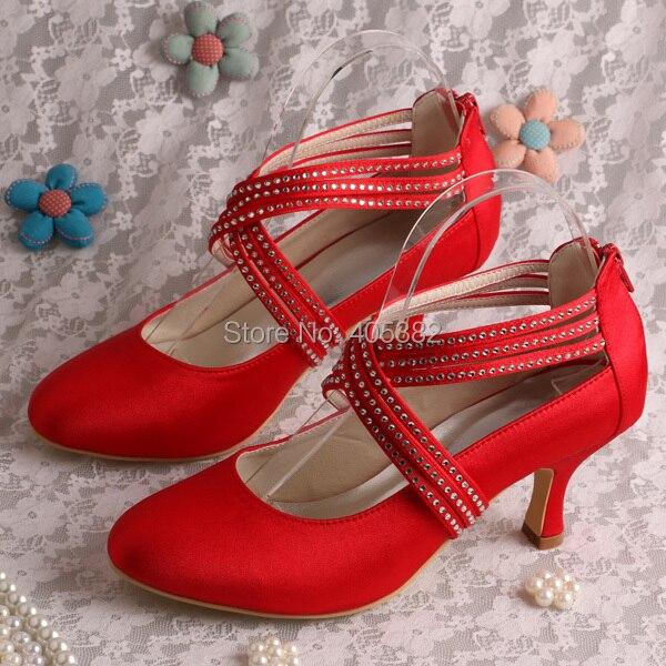 ФОТО Classy Cross Strap Heels Pumps Red Women Shoes Wedding Medium Heel 6.5CM Dropshipping