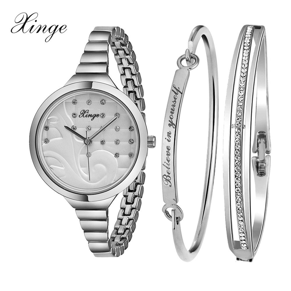 Xinge Brand Watch Women Luxury Crystal Bracelet Waterproof Stainless Steel Wristwatch Set Female Ladies Clock Fashion Watch xinge fashion brand popular watch women believe in yourself bracelet crystal wristwatch set girls gift clock women 2018 watches