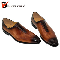 Handmade Men Genuine Leather Dress Shoes High Quality Italian Design Brown Blue Color Hand polished Pointed Toe Wedding Shoes