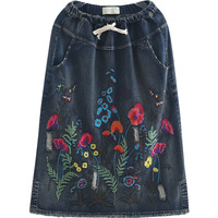 New Summer Women Skirts Vestidos Plus Size Fashion Embroidery Floral Casual Loose Jeans Skirt For Women Large Denim Midiskirt