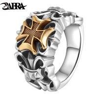 ZABRA Solid Silver 925 Rings For Men Big Golden Cross Anchor Ring Punk Man Ring Religious