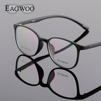 EAGWOO Silicon Plastic Girl Boy Student Eyeglasses Vintage Round Optical Frame For Youngers Cat Eye Spetacles