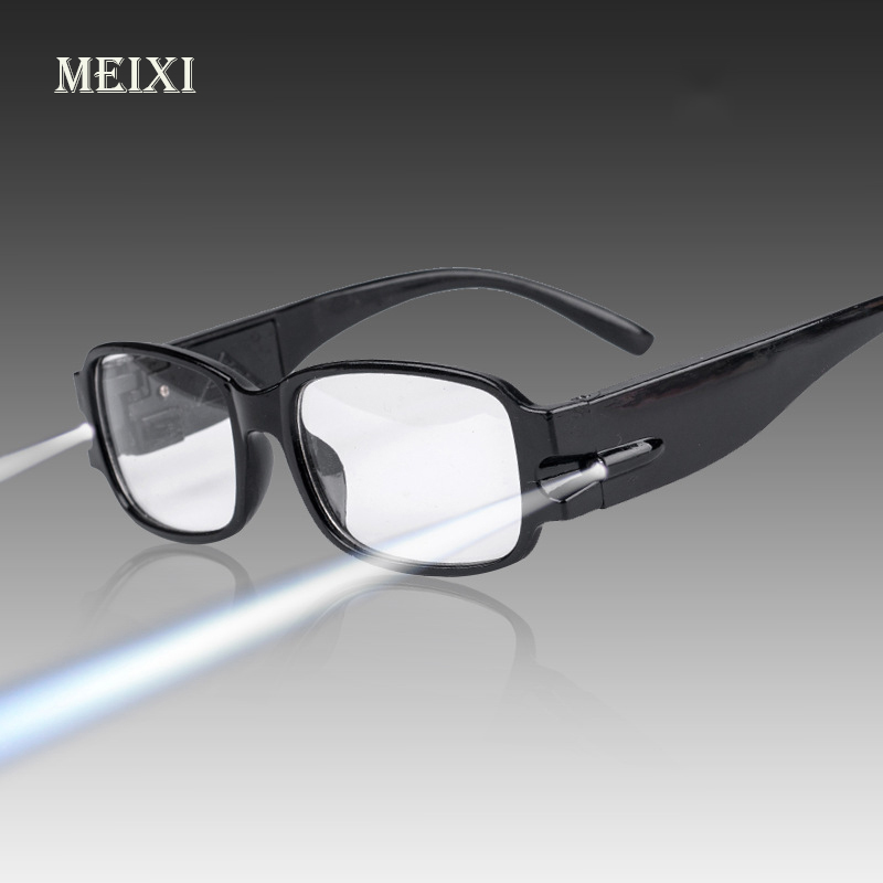 HOT! Unisex Adjustable Magnetic Therapy And Health Protection Reading Glasses With LED Light With Money Detect +1.0 1.5 2 2.5 3 ...