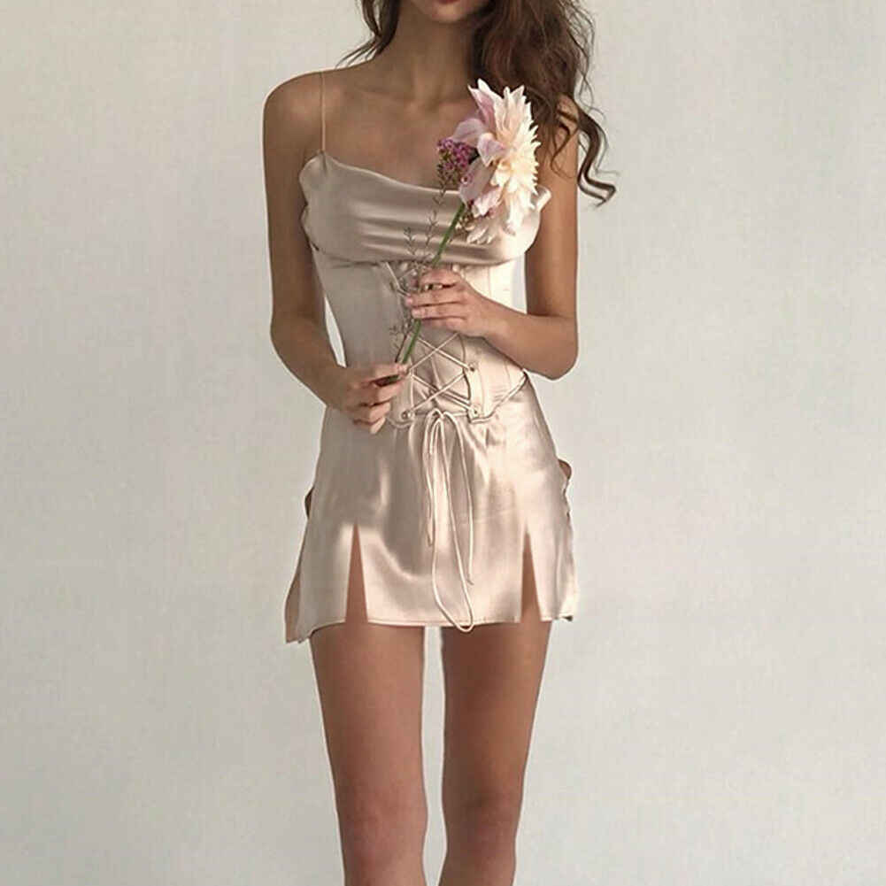 Sexy Satin Silk Strappy Front Bandage Lace Up Women High Split Summer Short Dress Evening Party Beach Dresses