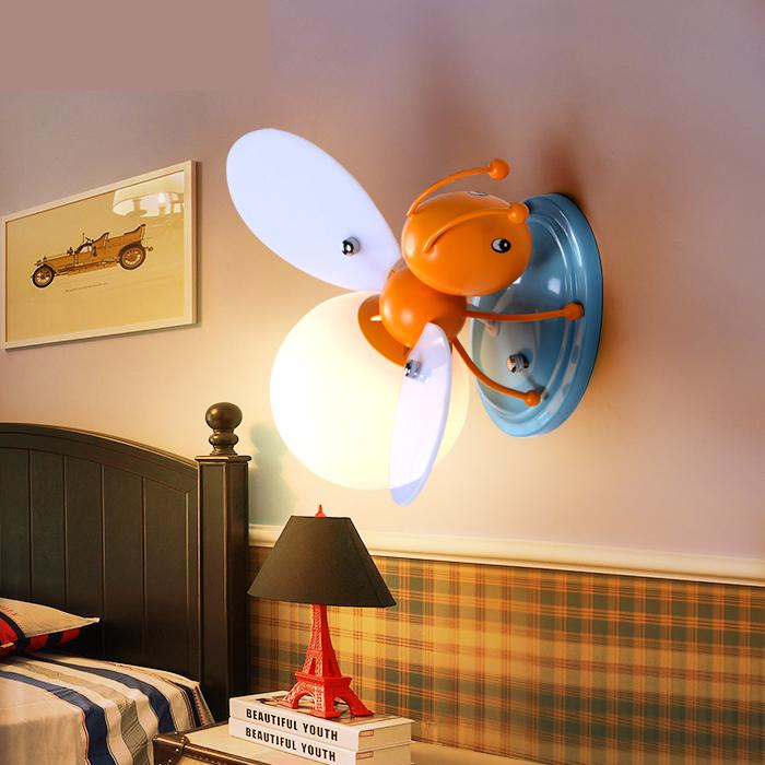 Creative Cartoon Children Room Boys And Girls Bedside Lamp Decorative Led Cartoon Light Bee Led Children's Wall light 2017 lamparas modern children bedroom led chandelier cartoon little bee girls and boys study glass light fixture free shipping