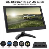 HD 11.6 Inch IPS TFT LCD Car Monitor TV Computer MP5 Player 2 Channel Video Input Security Monitor with Speaker HDMI AV BNC VGA