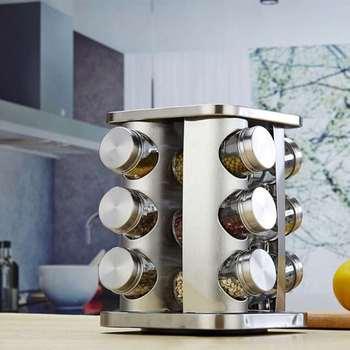 Frasco De Condimento Rotatorio Caja De Condimento Bote Para Sal De Acero Inoxidable Frasco De Condimento De Vidrio Suministros De Cocina