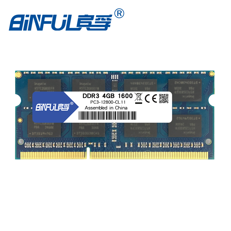 Binful <font><b>DDR3</b></font> 4GB 1600MHz PC3-12800 for laptop RAM Memory 204pin Notebook 1.5V voltage image