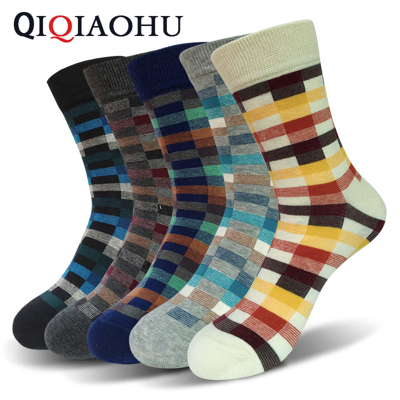 5Pairs Fashion Pattern Summer Crew Mens Cotton Socks Colorful Jacquard Casual Wedding Dress Sock Chaussette Homme Calcetine