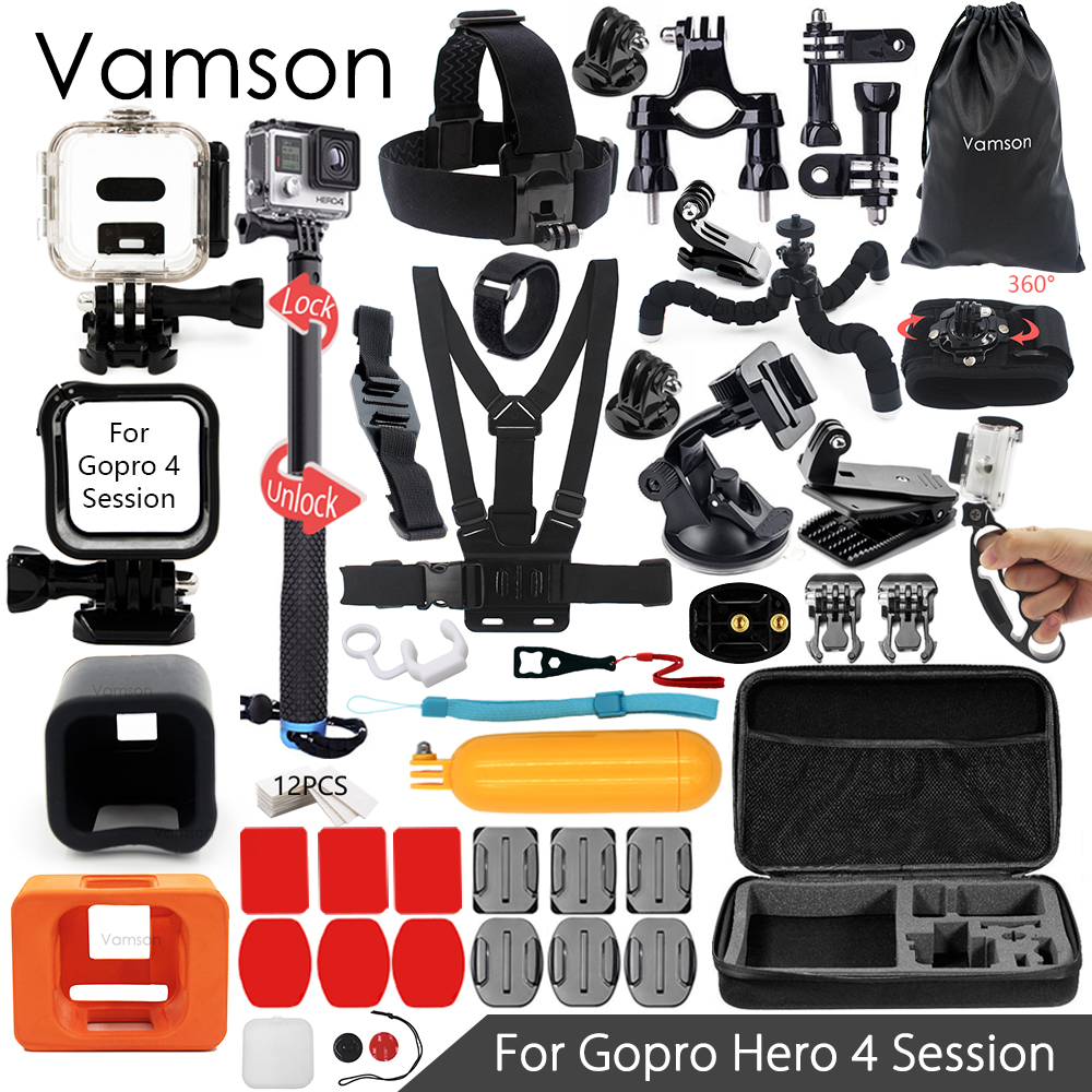 Vamson for Gopro Hero 4 Session Accessories Set Super Kit Monopod Chest Strap for Go pro hero 4 Session Action Camera VS14 gopro 4 session sjcam xiao yi sj4000 kit accessories collection storage bag case with monopod strap for sports camera